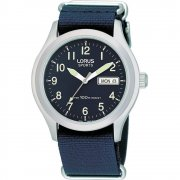 Lorus Military Blue Dial Nylon Strap Mens Watch RXN65AX9