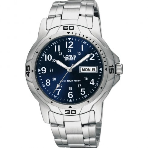Lorus Military blue dial stainless steel bracelet Mens watch RXN51BX7