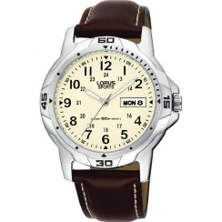 Lorus Military Cream Dial Brown Leather Strap Mens Watch RXN49BX9