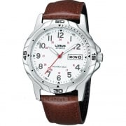 Lorus Military White Dial Brown Leather Strap Gents Watch RXN89CX9
