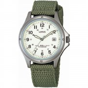 Lorus Military White Dial Green Fabric Strap Mens Watch RXD425L8