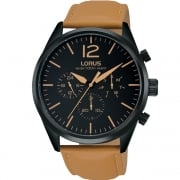 Lorus Multi Function Black Dial Tan Strap Gents Watch RX411AX9