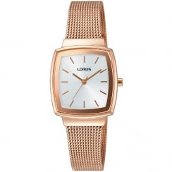 Lorus Silver Dial Rose Gold Mesh Strap Ladies Watch RG252LX9