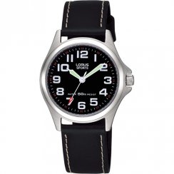 Lorus Sports Black Dial Black Leather Strap Ladies Watch RRS53LX9