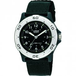 Lorus Sports Black Dial Black Nylon Strap Boys Watch RRS61NX9