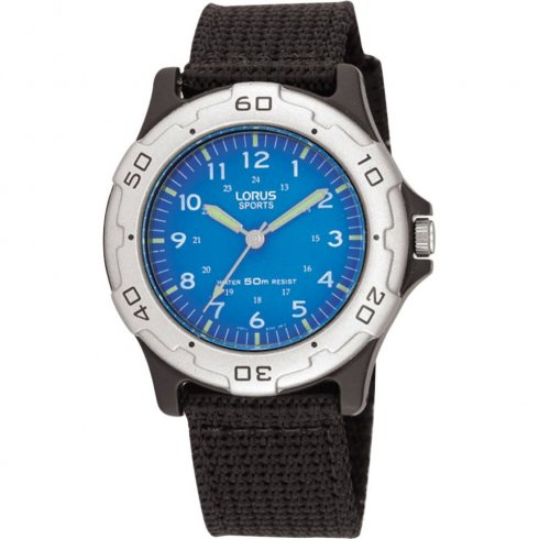 Lorus Sports Blue Dial Black Nylon Strap Boys Watch RRS59FX9