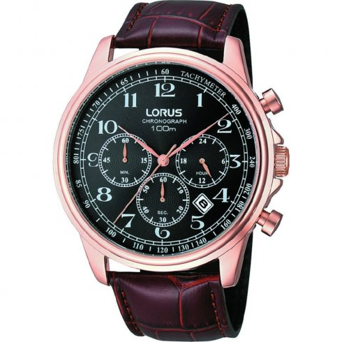 Lorus Sports Chronograph black dial Brown Leather strap Mens watch RT312CX9