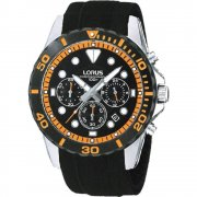 Lorus Sports Chronograph black dial chronograph rubber strap Mens watch RT367BX9