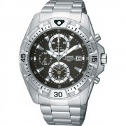 Lorus Sports Chronograph black dial chronograph stainless steel bracelet Mens watch RF851CX9