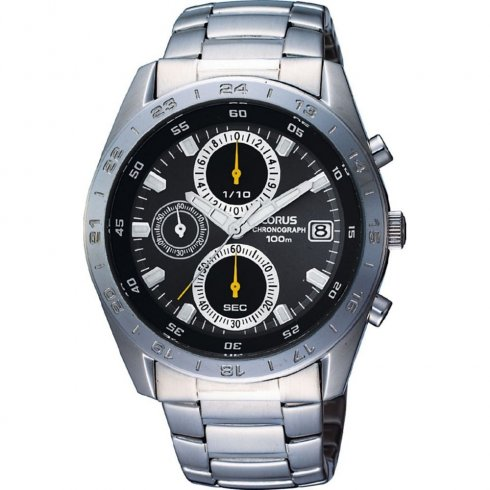 Lorus Sports Chronograph black dial chronograph stainless steel bracelet Mens watch RM307BX9