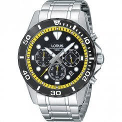 Lorus Sports Chronograph black dial chronograph stainless steel bracelet Mens watch RT335BX9