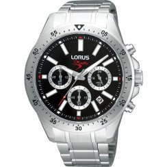 Lorus Sports Chronograph black dial chronograph stainless steel bracelet Mens watch RT347AX9