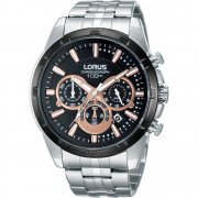 Lorus Sports Chronograph black dial chronograph stainless steel bracelet Mens watch RT359BX9