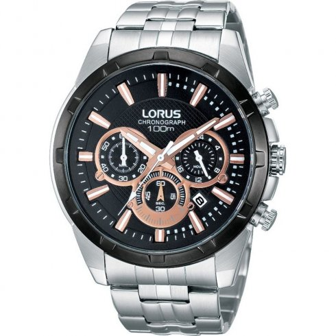 Lorus Sports Chronograph black dial stainless steel bracelet Mens watch RT359BX9