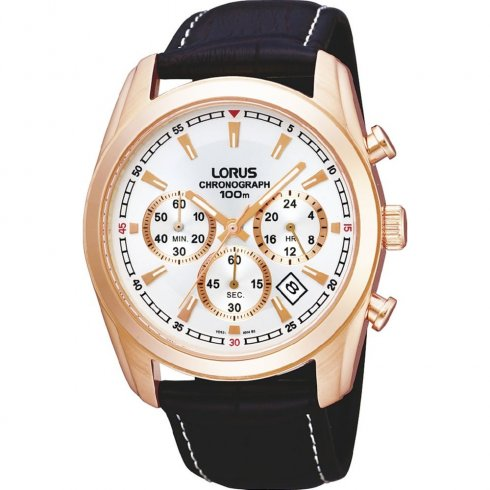 Lorus Sports Chronograph white dial chronograph leather strap Mens watch RT368AX9