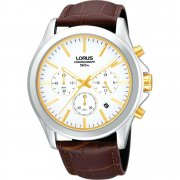 Lorus Sports Chronograph white dial chronograph leather strap Mens watch RT383AX9