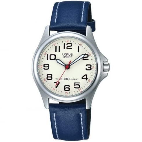 Lorus Sports Cream Dial Blue Leather Strap Ladies Watch RRS55VX9