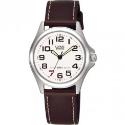 Lorus Sports White Dial Brown Leather Strap Ladies Watch RRS51LX9