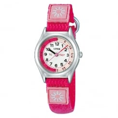 Lorus Time Teacher White Dial Respberry Pink Strap Children Watch RG253KX9