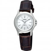 Lorus Titanium Silver Dial Brown Leather Strap Ladies Watch RRS55TX9