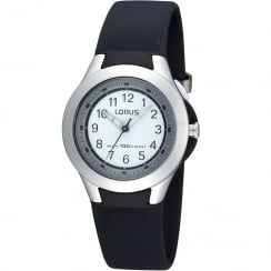 Lorus White Dial Black Resin Strap Girls Watch R2305FX9