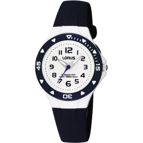 Lorus White Dial Blue Resin Strap Children Watch RRX43CX9