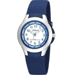 Lorus White Dial Blue Resin Strap Girls Watch R2307FX9