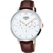 Lorus White Dial Brown Leather Strap Ladies Watch RP691CX9