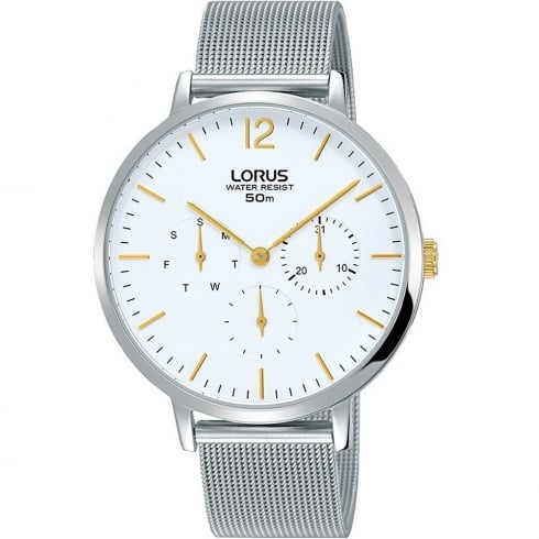 Lorus White Dial Chrome Milanese Bracelet Ladies Watch RP689CX9