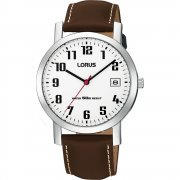 Lorus  white dial leather strap Mens watch RXH65EX9