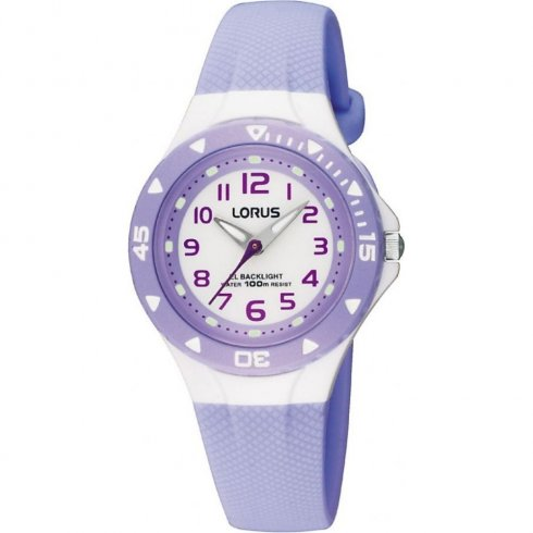 Lorus White Dial Light Blue Resin Strap Children Watch RRX51CX9