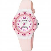 Lorus White Dial Pale Pink Resin Strap Children Watch RRX49CX9