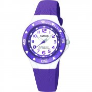 Lorus White Dial Purple Resin Strap Children Watch R2337DX9