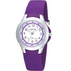 Lorus White Dial Purple Resin Strap Girls Watch R2313FX9