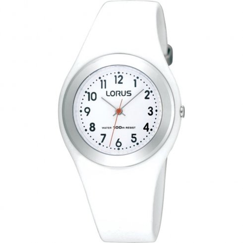 Lorus white dial resin strap Ladies watch R2399FX9
