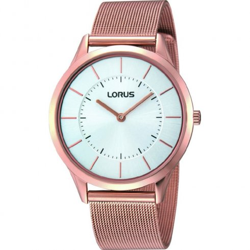 Lorus White Dial Rose Gold Mesh Gents Watch RTA42AX9