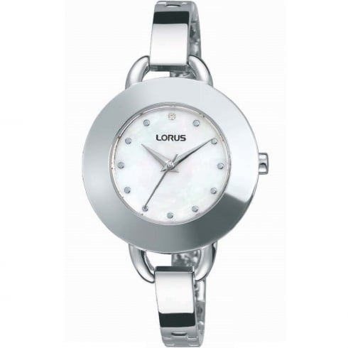 Lorus White Dial Semi Bangle Bracelet Ladies Watch RG243JX9