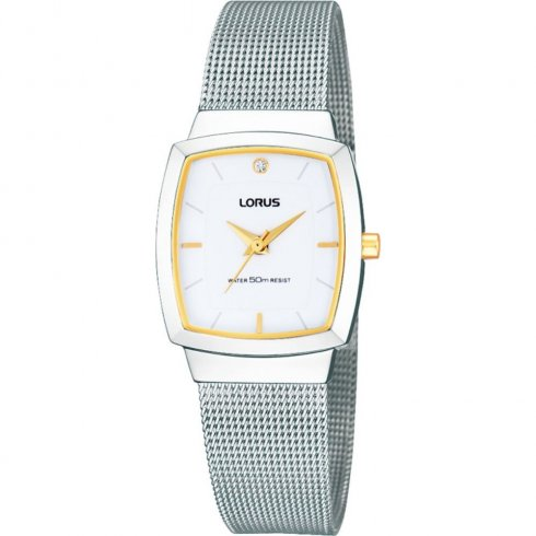 Lorus white dial stainless steel mesh Ladies watch RRS07UX9