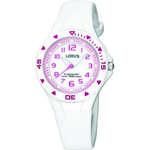 Lorus White Dial White Resin Strap Children Watch R2335DX9