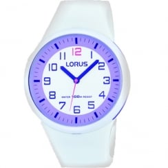 Lorus White Dial White Resin Strap Youth Watch RRX61DX9