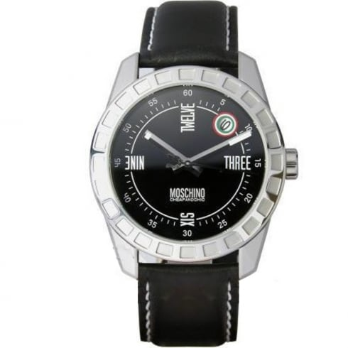 Moschino Moschine Joe Black Dial Black Leather Strap Gents Watch MW0019