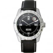 Moschine Joe Black Dial Black Leather Strap Gents Watch MW0019