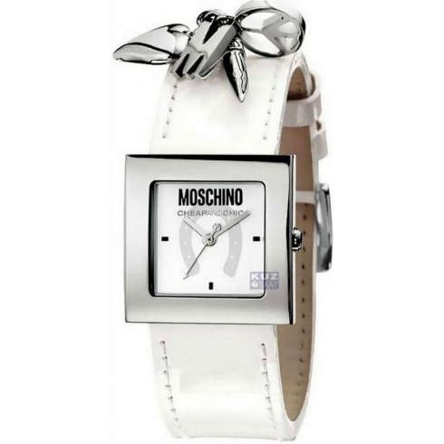 Moschino Moschine Time For Pendant White Dial White Leather Strap Ladies Watch MW0026