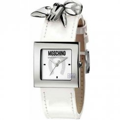 Moschine Time For Pendant White Dial White Leather Strap Ladies Watch MW0026