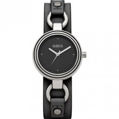 Oasis Black Dial Black Leather Cuff Strap Ladies Watch B1092