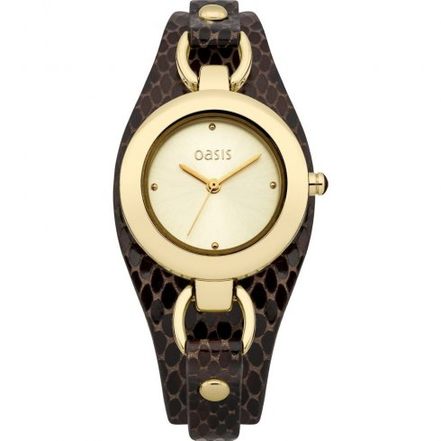 Oasis Champagne Dial Brown Leather Cuff Strap Ladies Watch B1398