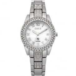 Oasis Diamond White Dial Silver Plated Bracelet Ladies Watch B1537