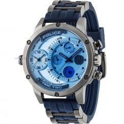Police Adder Blue Dial Two Tone Rubber Strap Gents Watch 14536JSU/04P