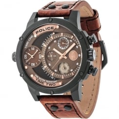 Police Adder Brown Dial Brown Leather Strap Gents Watch 14536JSB/12A