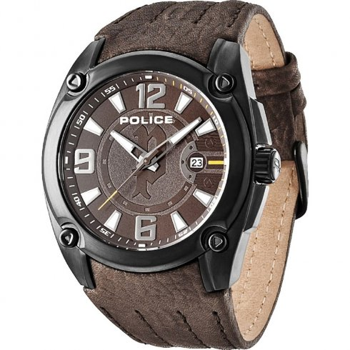 Police Adventure brown dial leather strap Mens watch 13891JSB-12